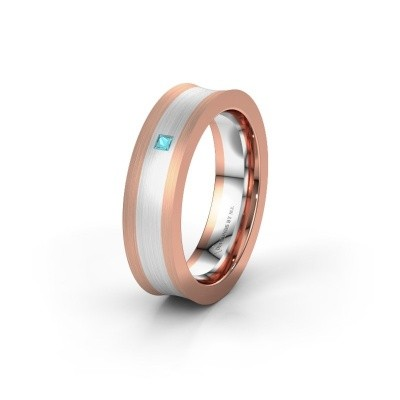 Wedding ring WH2238L2 585 rose gold blue topaz ±6x2.2 mm