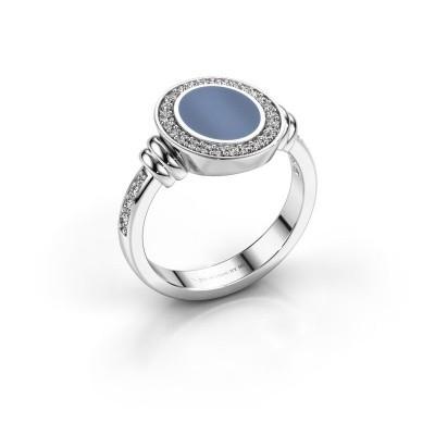 Foto van Zegelring Servie 1 925 zilver licht blauwe lagensteen 10x8 mm