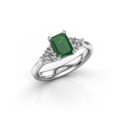 Foto van Verlovingsring Monika EME 585 witgoud smaragd 7x5 mm