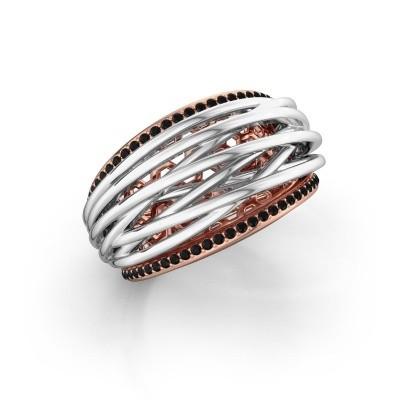 Foto van Ring Kirstin 585 rosé goud zwarte diamant 0.324 crt