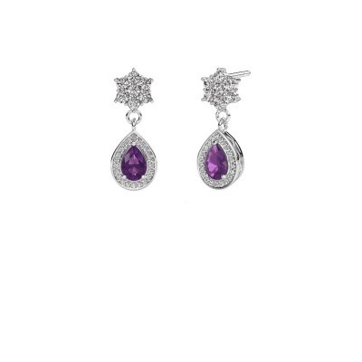 Drop earrings Era 950 platinum amethyst 6x4 mm