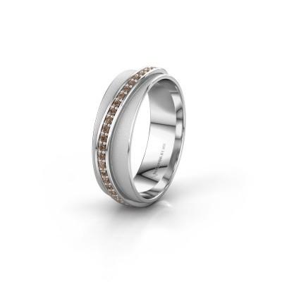 Huwelijksring WH2126L 950 platina bruine diamant ±6x1.7 mm