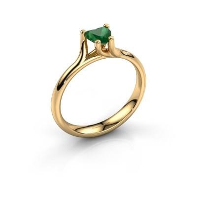 Foto van Verlovingsring Dewi Heart 375 goud smaragd 5 mm