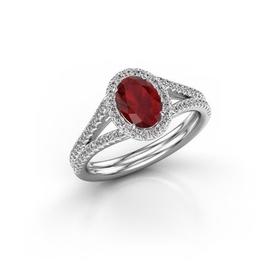 Engagement ring Rachele 2 925 silver ruby 7x5 mm