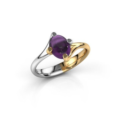 Ring Nora 585 witgoud amethist 8x6 mm