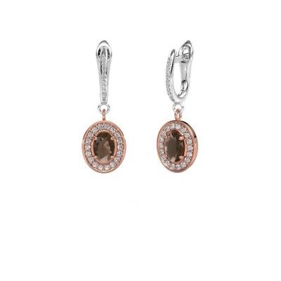 Picture of Drop earrings Layne 2 585 rose gold smokey quartz 7x5 mm