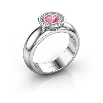 Picture of Stacking ring Anna 925 silver pink sapphire 5 mm