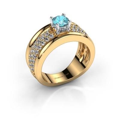 Foto van Ring Alicia 585 goud blauw topaas 5 mm
