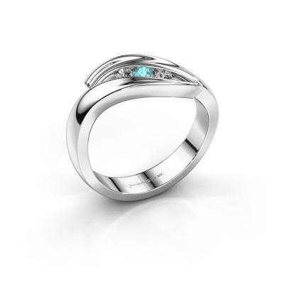 Foto van Ring Erin 925 zilver blauw topaas 2.4 mm