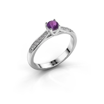 Picture of Engagement ring Mia 2 925 silver amethyst 4.2 mm