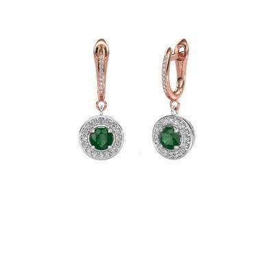 Foto van Oorhangers Ninette 2 585 witgoud smaragd 5 mm
