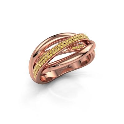 Foto van Ring Candice 585 rosé goud gele saffier 0.8 mm