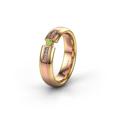 Wedding ring WH2128L26C 585 rose gold peridot ±5x2 mm