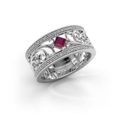 Ring Danae 585 witgoud rhodoliet 3 mm