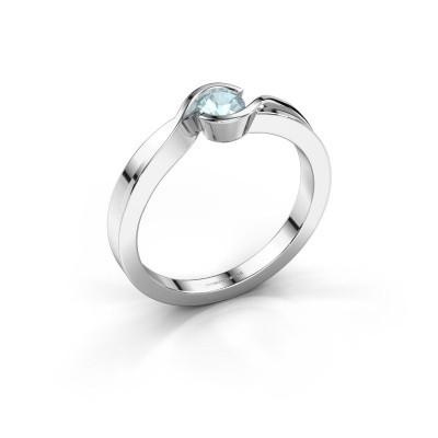 Foto van Ring Lola 925 zilver aquamarijn 4 mm