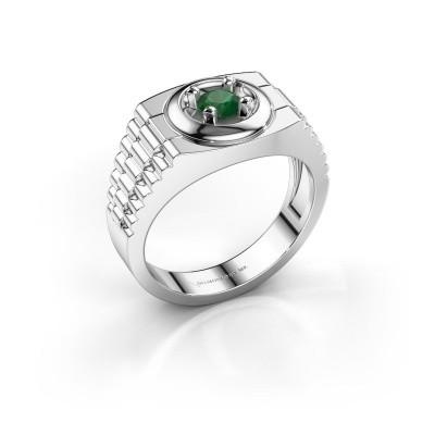 Foto van Rolex stijl ring Edward 585 witgoud smaragd 4.7 mm