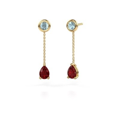 Picture of Drop earrings Laurie 3 375 gold ruby 7x5 mm