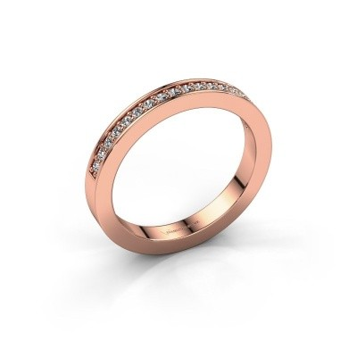 Stackable ring Loes 4 375 rose gold zirconia 1.3 mm