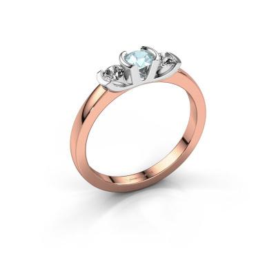 Ring Lucia 585 rose gold aquamarine 3.7 mm