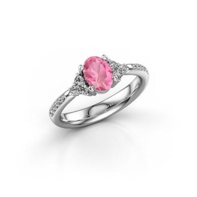 Foto van Verlovingsring Aleida 2 925 zilver roze saffier 7x5 mm