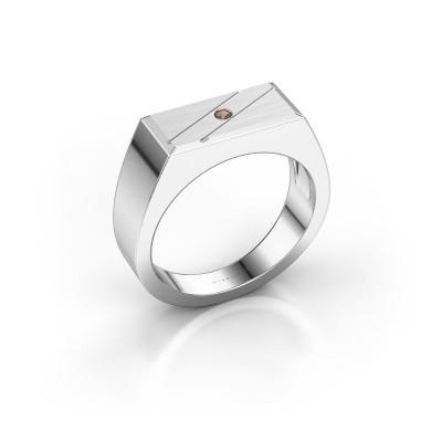 Men's ring Dree 3 585 white gold smokey quartz 2 mm