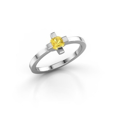 Ring Therese 950 platina gele saffier 4.2 mm
