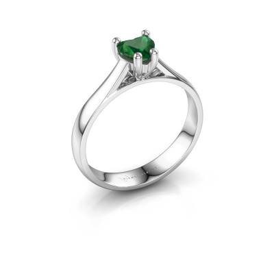 Engagement ring Sam Heart 925 silver emerald 5 mm