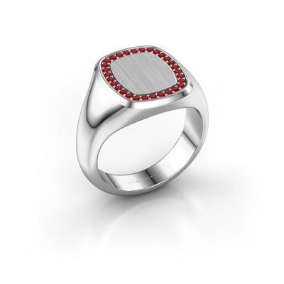 Heren ring Floris Cushion 3 925 zilver robijn 1.2 mm