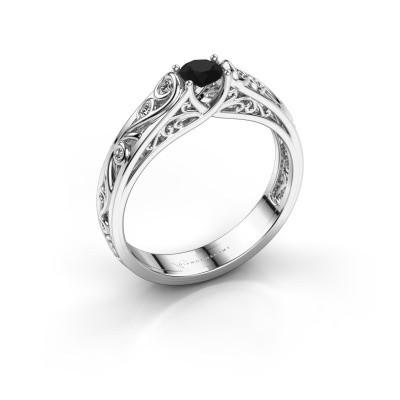 Foto van Ring Quinty 950 platina zwarte diamant 0.385 crt
