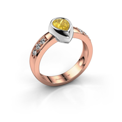 Ring Charlotte Pear 585 rose gold yellow sapphire 8x5 mm