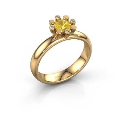 Stapelring Carola 2 585 goud gele saffier 5 mm