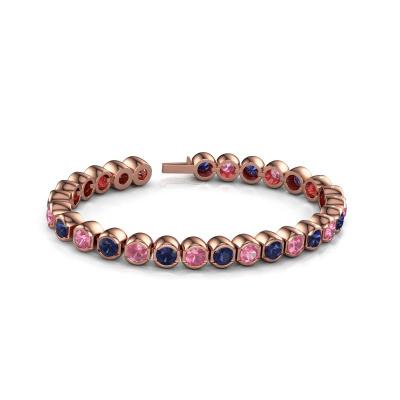 Foto van Tennisarmband Bianca 5 mm 375 rosé goud roze saffier 5 mm