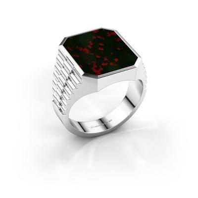Foto van Rolex stijl ring Brent 4 585 witgoud heliotroop 16x13 mm