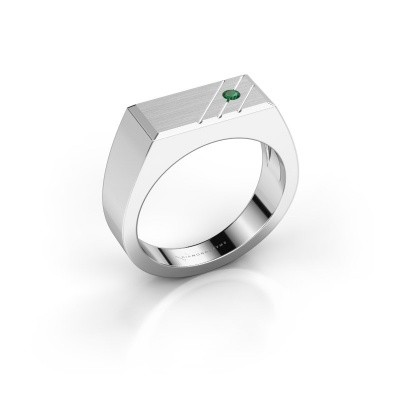 Men's ring Dree 5 585 white gold emerald 2.4 mm