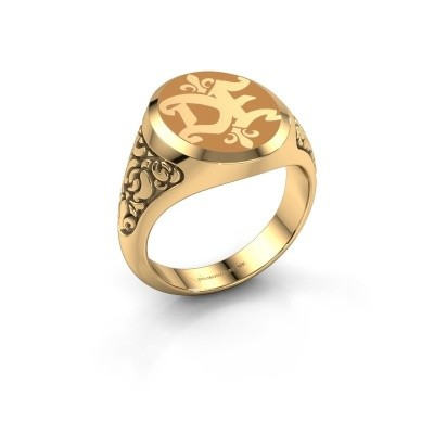 Monogram ring Brian Emaille 585 goud gele emaille