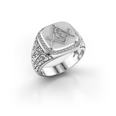 Foto van Herenring Hugo 375 witgoud diamant 0.255 crt