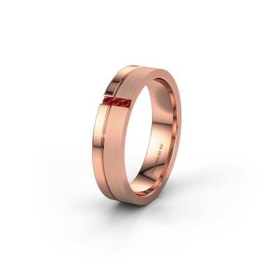 Trouwring WH0157L14XPM 375 rosé goud robijn ±4x1.4 mm