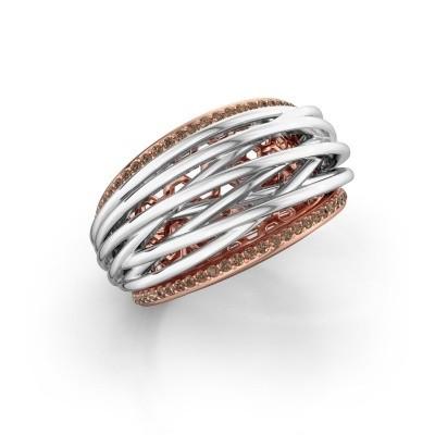 Foto van Ring Kirstin 585 rosé goud bruine diamant 0.27 crt