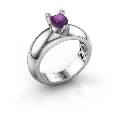 Ring Cornelia Pear 925 silver amethyst 7x5 mm