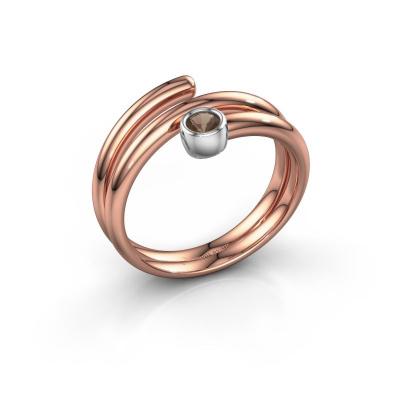 Ring Jenna 585 rosé goud rookkwarts 3 mm