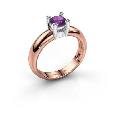 Ring Fleur 585 rosé goud amethist 4.7 mm