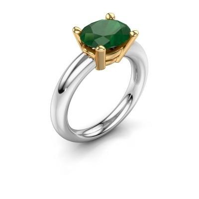 Ring Janiece 585 Weißgold Smaragd 10x8 mm