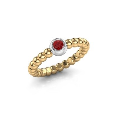 Stackable ring Dini 585 gold ruby 3 mm