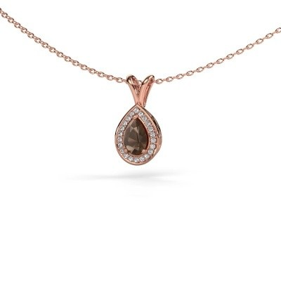 Picture of Necklace Ginger 375 rose gold smokey quartz 6x4 mm