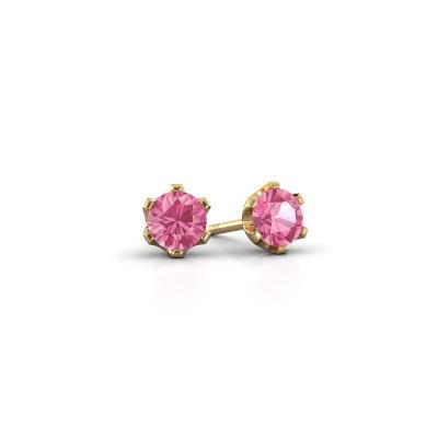 Foto van Oorstekers Fran 375 goud roze saffier 4.7 mm