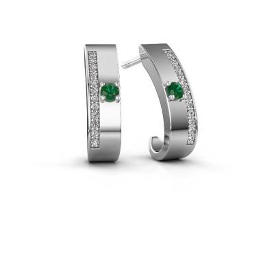 Oorbellen Vick1 585 witgoud smaragd 2.4 mm