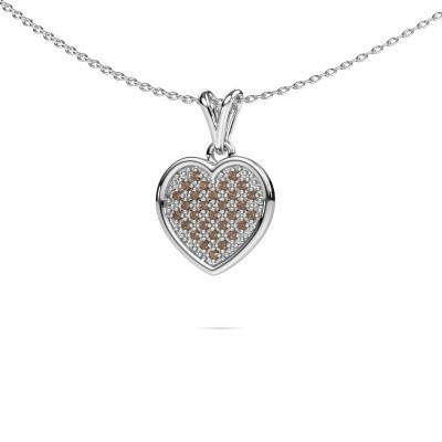 Halsketting Aline 585 witgoud bruine diamant 0.15 crt