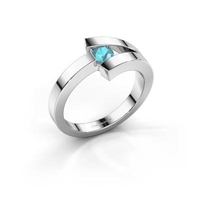 Ring Sofia 585 Weißgold Blau Topas 3.7 mm