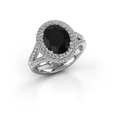 Foto van Verlovingsring Elvie 585 witgoud zwarte diamant 3.835 crt