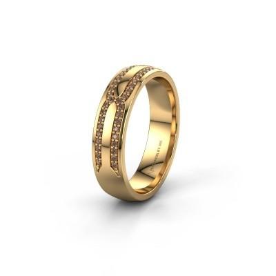 Trouwring WH2212L25AP 375 goud bruine diamant ±5x1.7 mm